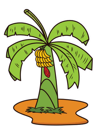 Ilustración de dibujos animados de planta de árbol de plátano aislada sobre fondo blanco Foto de archivo - 70383748