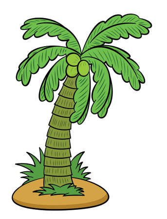 Coconut Tree or Palm Tree Cartoon Illustration Isolated on White Background