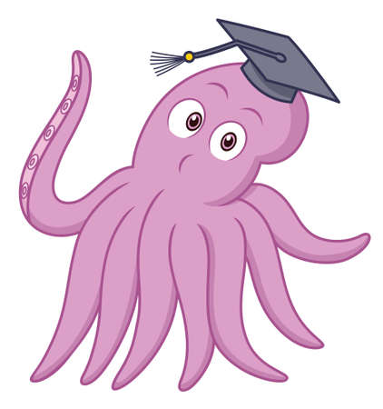 mollusc: Smart Octopus with Bachelor Cap Cartoon Illustration Isolated on White Background Illustration