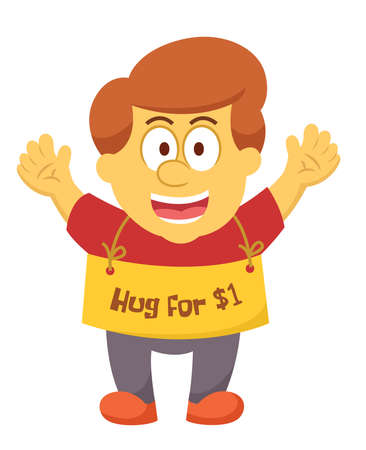 Man Offering Hug for Money Cartoon Illustration Isolated on whit