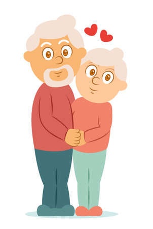 Romantic Elderly Couple Hugging Cartoon Character. Vector Illustration Isolated on White.