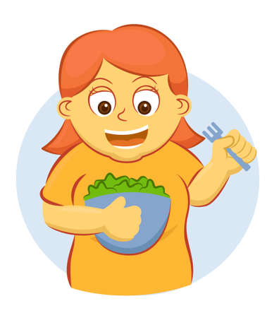Young Girl Ready to Eat A Large Bowl of Vegetables Cartoon Illustration