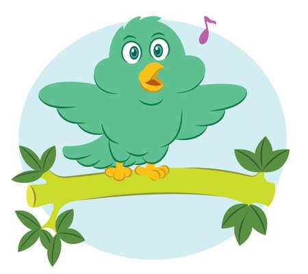 Pájaro que se posa y que gorjea en la ilustración de la historieta de la rama de árbol Foto de archivo - 70395631
