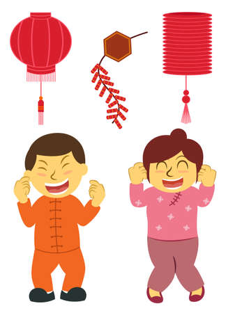 Chinese Boy and Girl Celebrating Chinese New Year with Firecrackers and Lantern Cartoon Illustration 向量圖像