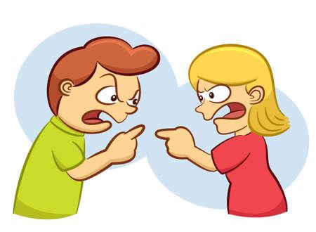 Uomo e donna che discutono con l'illustrazione arrabbiata del fumetto di espressione