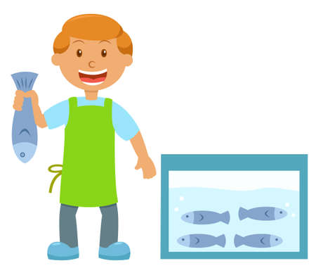 fishmonger: Fishmonger Holding Fish Cartoon Illustration Isolated on white Background
