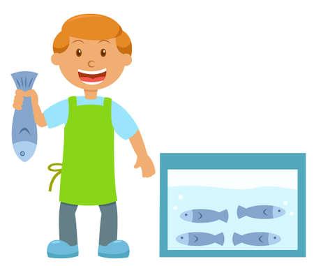 Pescadero sosteniendo la ilustración de dibujos animados de peces aisladas sobre fondo blanco Foto de archivo - 70395636
