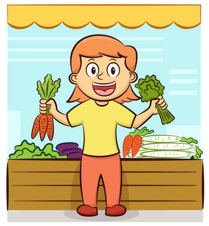Young Female Vegetable Seller Offering Fresh Vegetables Cartoon Illustration