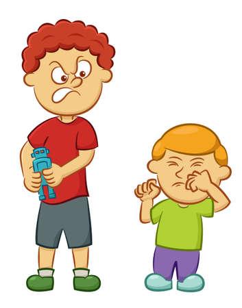 Big Boy travieso que toma el juguete lejos de la ilustración de chico de dibujos animados aislado en el fondo blanco Foto de archivo - 70383515