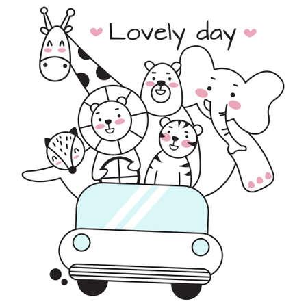 Cute animal riding car cartoon character