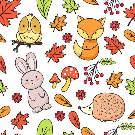 Autumn Animal Seamless Pattern Ilustração