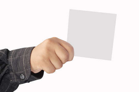 designate: right hand holding a card, isolated on white background