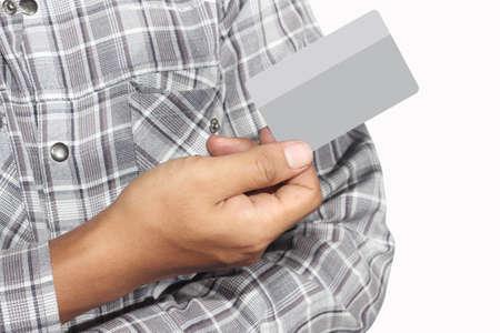 mano derecha: la tarjeta de cr?dito de la derecha, aislado en fondo blanco
