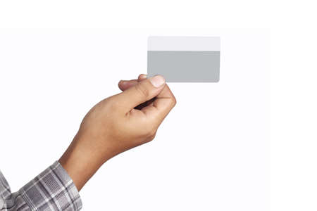 right hand holding credit card, isolated on white background  photo