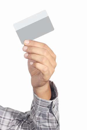 mano derecha: la tarjeta de cr�dito de la derecha, aislado en fondo blanco