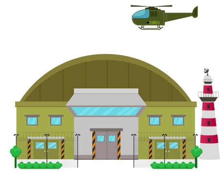 Flaches Design des Militärstützpunktlagers Illustration Vektorgrafik