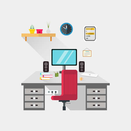 A workspace flat design illustration