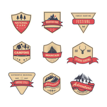 Collection of isolated vintage logo, badge, emblem or logotype elements for mountain ,hunting , camping, park, . available in eps 8 or higher illustrator version