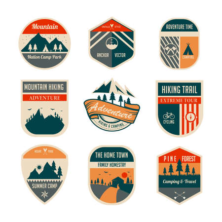 set of mountain or park with retro style or vintage