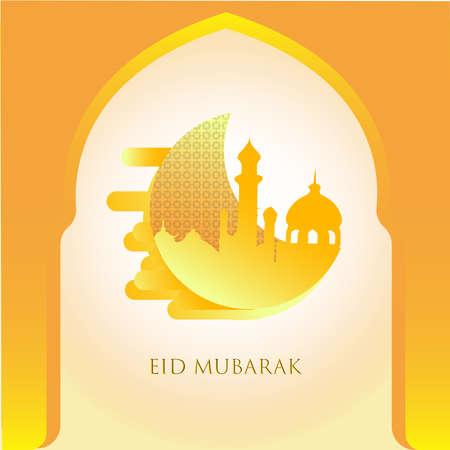Eid Mubarak day illustration design with yellow gradient color