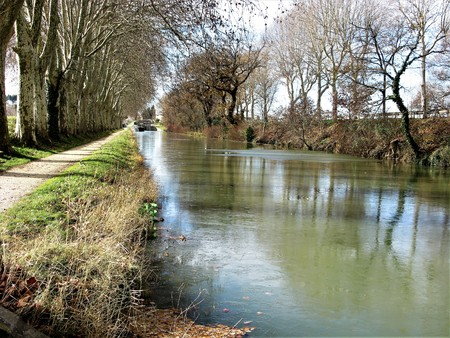 Canal du Midi near Carcassonne, France Stock Photo