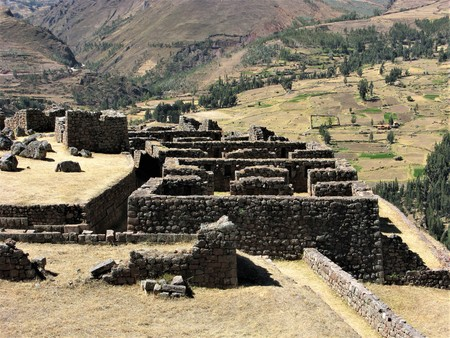 pisac: Inca ruins, Pisac, Peru Stock Photo