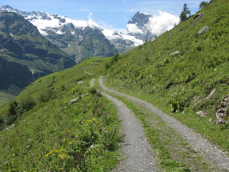 Footpath towards snow capped mountains near Engelberg, Switzerland Stock Photo