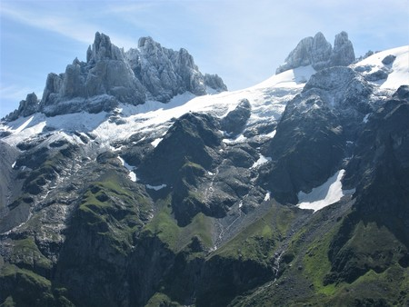 Crags above a glacier near Engelberg, Switzerland