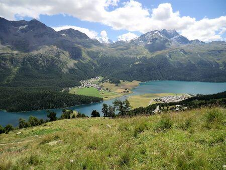 Silvaplana and Silvaplanersee lake, Engadine, Switzerland Stock Photo