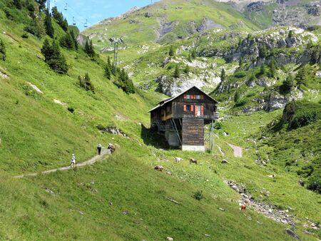 Wooden chalet in a valley near Engelberg, Switzerland Stock Photo