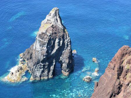 Sea stack at Ponta de Rosais, Sao Jorge island, The Azores
