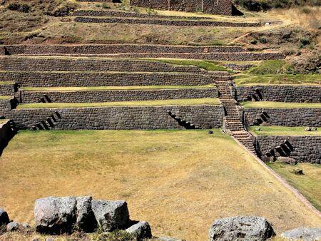 Walled terraces at the Tipon Inca site near Cusco, Peru