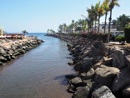 Tidal water channel at Puerto de Mogan, Gran Canaria