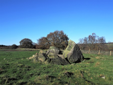 Boulders in a field in Haverah Park, Beckwithshaw, Yorkshire, UK