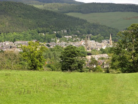 View over the spires and rooftops of Peebles, Scottish Borders