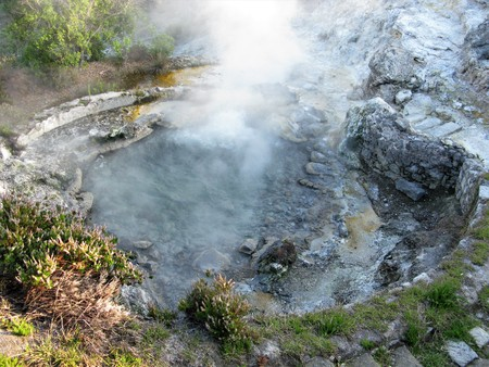 Fumarole with steam at Furnas, Sao Miguel, The Azores