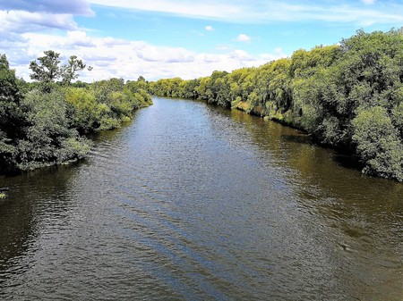 River Ouse lined by trees near York, England