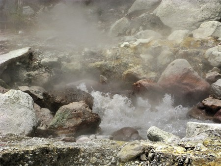 Bubbling hot spring at Furnas, Sao Miguel island, The Azores