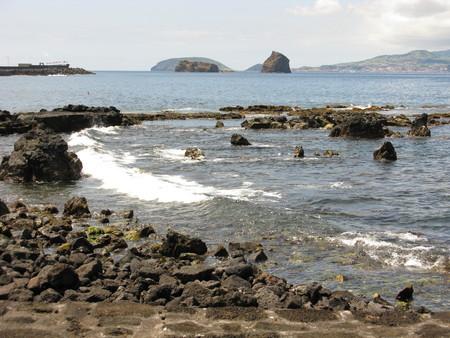 Rocky shore on Pico island, The Azores Stock Photo