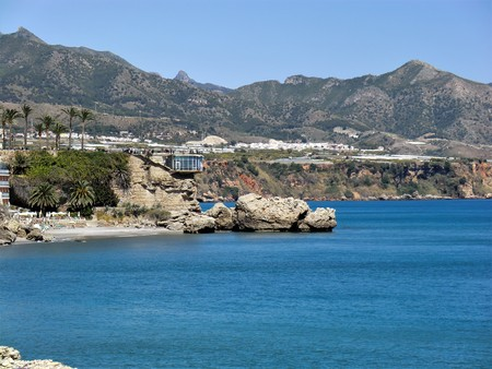 View of the Balcon de Europa at on the coast at Nerja, Andalucia, Spain Stock Photo