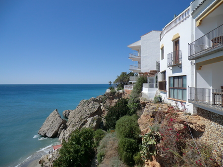 View of the sea from the coast at Nerja, Andalucia, Spain Stock Photo