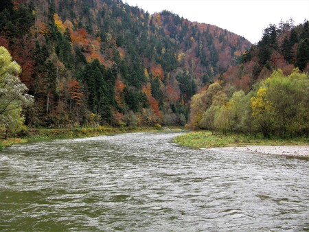 Dunajec Gorge between Poland and Slovakia in autumn
