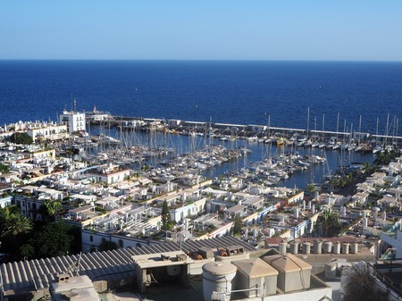 View over the picturesque port at Puerto de Mogan on Gran Canaria