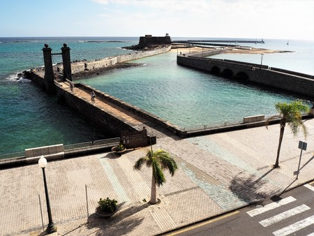 Harbour walls and Castle of St Gabriel at Arrecife, Lanzarote