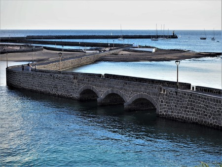 Harbour walls and sailing boats at Arrecife, Lanzarote Stock Photo
