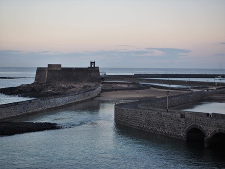 Castle of St Gabriel housing the Museum of History on the harbour wall at Arrecife, Lanzarote