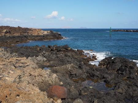 Volcanic shore near Orzola, Lanzarote Stock Photo