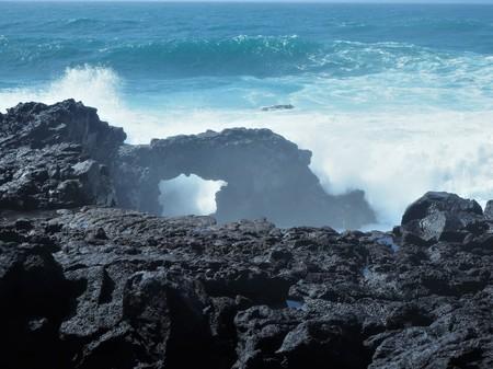 Rock arch in lava on the coast near El Golfo, Lanzarote