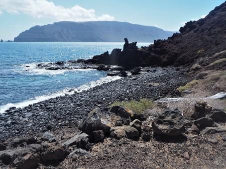 Volcanic shore of La Graciosa island with a view of Lanzarote, Canary Islands