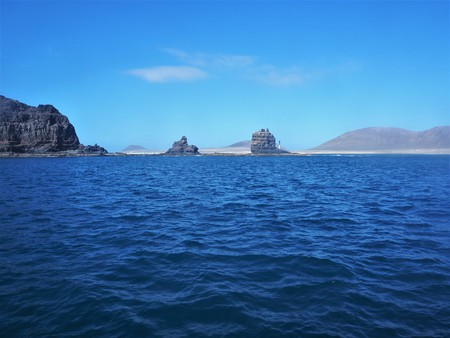Rocks on a spit of land on Lanzarote with La Graciosa island in the background